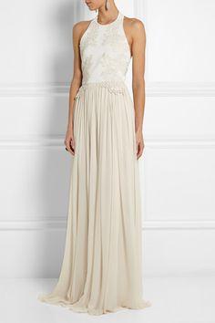 Elie Saab | Guipure lace-appliquéd stretch-knit and silk-chiffon gown | NET-A-PORTER.COM