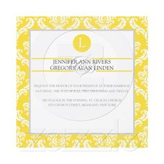 zazzle.com #yellow wedding #invitations