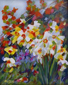 Woodland Daffodils by Pamela Gatens Acrylic ~ 20 x 16