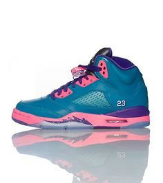 "JORDAN ""Teal-Pink"" Lace up front closure Contrasting colors Retro 5 design Padded tongue with logo Mesh detail Cushioned sole for comfort"