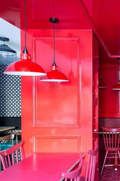 The bold colour choice of this dining space in this restaurant in London is a fun and different interior concept. The red powder coloured pendant light shade is an exciting addtion to the elaborate dining space. #mullanlighting #restaurantlighting #lightingdesign #lightingideas #restaurantdesign #hospitalitylighting #hospitatilitydesign #commercialdesign #commerciallighting #lightingretail #retaildesign #retailinteriors #lightingconcepts #pendantlighting #pendantlights #hanginglighting Restaurant Lighting, Restaurant Design, Commercial Lighting, Commercial Design, Lighting Concepts, Lighting Design, Industrial Pendant Lights, Pendant Lighting, Interior Concept