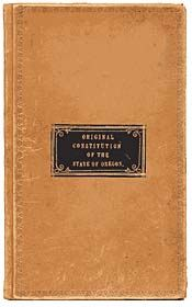 The leather cover of the 1857 Oregon Constitution.