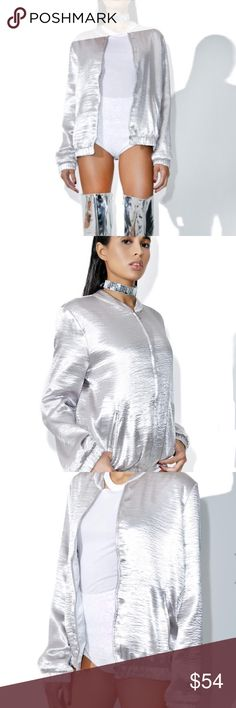 Silver bomber jacket This gorgeous satin bomber jacket features a shiny silver hue construction with a bind collar, elasticized hems, side pockets, and a front zip closure.  97% Polyester, 3% Spandex Size shown is a small and model is 5' NWT from a non smoking home Cotton Candy LA Jackets & Coats