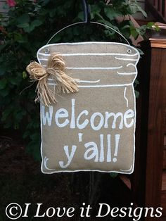 Mason Jar Burlap Door Hanger by ILoveItDesigns on Etsy, $33.00