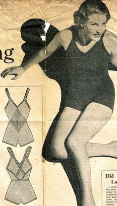 1930s vintage knitting pattern for knitted swimsuit