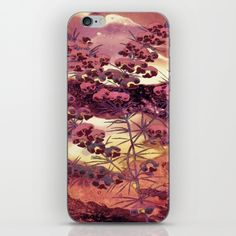 pink Christmas landscape iPhone & iPod Skin