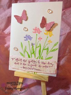 Butterfly card, quote, henry david thereau, flowers, sequins