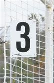 "Keeper Goals Field Numbers for Soccer Nets. These signs are 7"" x 10"" with 8"" high number. Printed black on white and includes plastic ties for affixing to nets. Two digit numbers are also available. It is recommended that you purchase two per field if the field is accessible from each goal. These signs help make is easier for spectators to locate the correct field as well as informing the players which field to meet at for training and/or games."
