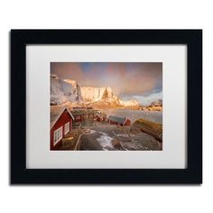 "Trademark Art ""Welcome to Reine"" by Philippe Sainte-Laudy Matted Framed Photographic Print Size: 1"