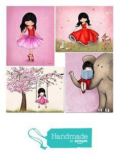 Pink Artwork For Girls Room Cherry Blossom Tree Wall art Ballerina Dancer Elephant Poster 8x10 / 11x14 Art Print Kids room illustration…