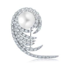Bling Jewelry Cubic Zirconia Fern Swirl Leaf Pearl Bridal Brooch Pin