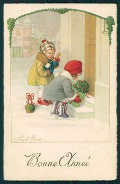 Divided Back Postcard 2 children placing gifts on door steps Victorian Christmas, Vintage Christmas Cards, Christmas Love, Christmas Pictures, Christmas Greetings, Xmas, New Year Greeting Cards, Vintage Greeting Cards, Chrismas Cards