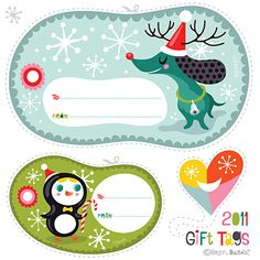 Free printable holiday gift tags {from Helen Dardik. Found via Paper Crave}