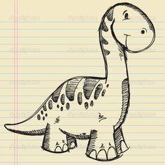 Динозавр эскиз каракули векторные иллюстрации - Стоковая иллюстрация: 9737323