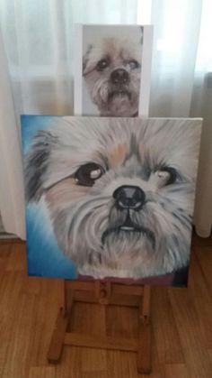De hond van een kennis vereeuwigd op canvas doek