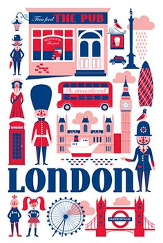 Tea Towel- London by Ingela P. Arrhenius