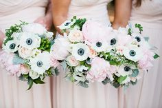 gorgeous anemone bouquets | Lauren Friday #wedding