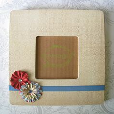 SALE  Picture Frame  Tan Patterned with Red and by StudioAsparagus, $8.00