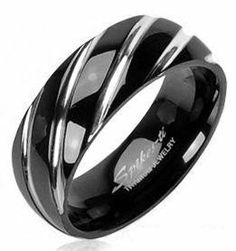 Titanium Wedding Ring Comfort Fit Black with Diagnal Grooves Spikes. $15.00. Comfort Fit. Polished Finish