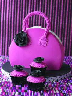 Pink handbag cake and cupcakes