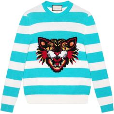 Gucci Wool Sweater With Angry Cat And Heart (1'030 CHF) ❤ liked on Polyvore featuring men's fashion, men's clothing, men's sweaters, men's wool crew neck sweaters, mens striped sweater, mens crewneck sweaters, mens crew neck sweater and mens woolen sweaters