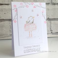 - A Clean & Simple Challenge from Jaydee Bees Knees, Birthday Celebration, Stamping, Birthdays, Happy Birthday, Greeting Cards, Challenges, Ballet, Simple