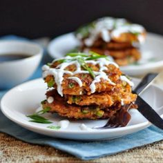 Carrot Fritters with Chipotle and Cheddar