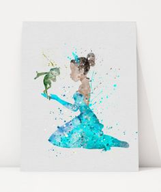 Princess Tiana DISNEY Watercolor Poster Print, Girl's Room Wall Art, Home Decor, Nursery Decor