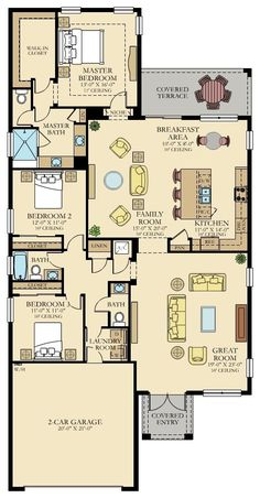 Ananda New Home Plan in Satori: Executive Estates Collection by Lennar 4 Bedroom House Plans, Barn House Plans, New House Plans, Dream House Plans, Cabin Plans, House Floor Plans, The Plan, How To Plan, Bungalow Haus Design
