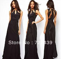 HOT Sale Trend Back Bust Hole Novelty Bandage Cutout Black Satin Long Gown Maxi Sleeveless Lady Sexy Dress Vintage PlusSize #021 $28.90 - 29.90