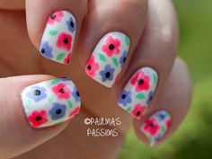 White nails with multi-color, pink, blue, periwinkle, black dot variation Flowers, easy free hand nail art
