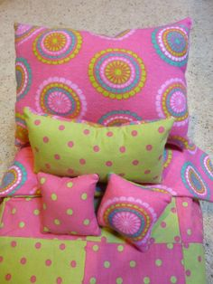 18 American Doll Bedding  Pink and Green Polka by CopperBugCompany, $22.50