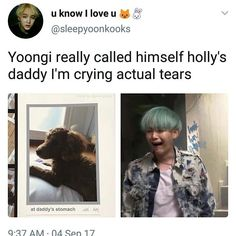 "9,385 Likes, 88 Comments - BTS MEMES / Caption is Gold (@bts.jokes) on Instagram: ""Bro.. I never wanted to call yoongi daddy till i read this. Holly at daddy's stomach """