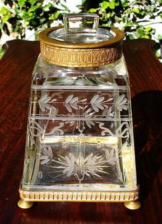 Antique French Vase with Lid Cut Glass and Ormolu Decanter   eBay