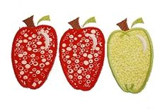 Apples Applique- 4x4 and 5x7   back-to-school   Machine Embroidery Designs   SWAKembroidery.com Needle in a Haystack
