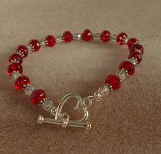 Perfect for Valentine's Day!! Red Valentine Bracelet S. Silver with by MichelleElaineDesign