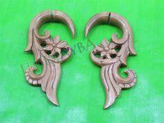 flower wooden fake gauges by Leginayba on Etsy, $6.99 #tribal earrings #tribal style #wooden earrings #FakeGauge #FauxGauge #OrganicJewelry #EcoJewelry #natural #bali