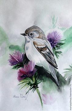 """Купить Акварель """"В зарослях чертополоха"""" - разноцветный, чертополох, птица, птицы, птица на ветке, акварель"""