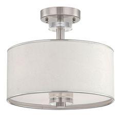 E15330045 Savvy Semi Flush Mount Ceiling Light - Satin Nickel / White