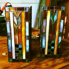 Early piece i did. Double candle holders with arts and craft theme