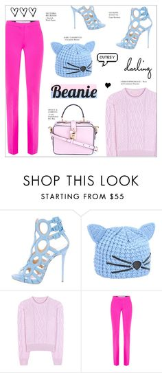 """""""CUTESY"""" by larissa-takahassi ❤ liked on Polyvore featuring Giuseppe Zanotti, Karl Lagerfeld, Christopher Kane, Victoria, Victoria Beckham, Dolce&Gabbana and beanies"""