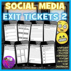 Ultimate Social Media Exit Tickets: Cell Phone Style (Includes Twitter, Facebook, Instagram, Texting, SnapChat, Pinterest, WhatsApp and Vine,…