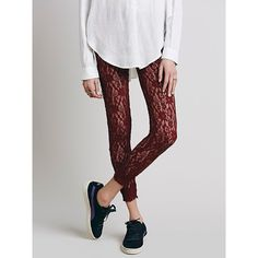 Free People Lazy Lace Legging ($48) ❤ liked on Polyvore featuring pants, leggings, free people pants, elastic waist pants, stretch pants, stretch leggings and floral lace leggings