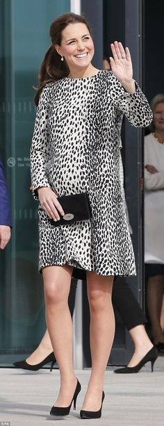 Kate stayed loyal to Hobbs even when pregnant. She is pictured on 11 March while visiting art gallery in Margate, Kent, the Duchess wore a £169 dalmation printcoat dress from the high street label Hobbs