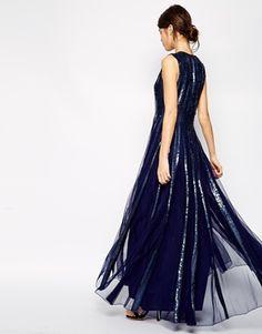 ASOS Embellished Sequin Strip Maxi Dress