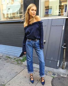 an off the shoulder top and boyfriend jeans + lace up pumps