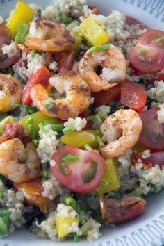 Quinoa met garnalen, groenten en kruiden