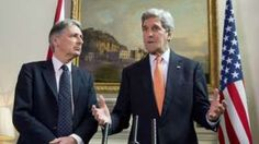 UK Foreign Secretary Philip Hammond (left) and US Secretary of State John Kerry after talks in London on 19 September