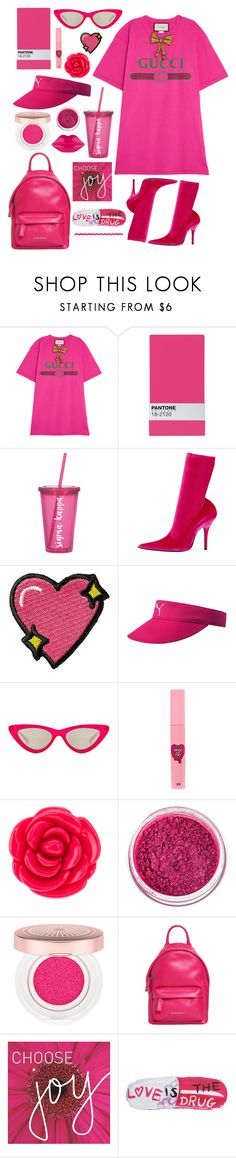 """look for mv (pink ver.)"" by nctzen ❤ liked on Polyvore featuring Gucci, Seletti, Balenciaga, Stoney Clover Lane, Le Specs, 3 Concept Eyes, Disney, Manic Panic NYC, Lancôme and Givenchy"