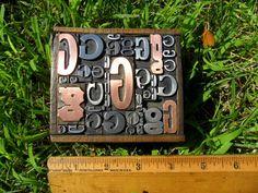 Old Letterpress Type Metal & Copper All Letter G Graphic Design In Old Wood Box | eBay